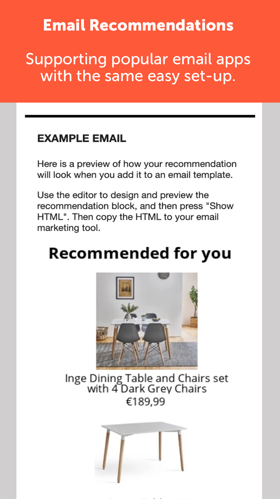 Email product recommendations like Amazon