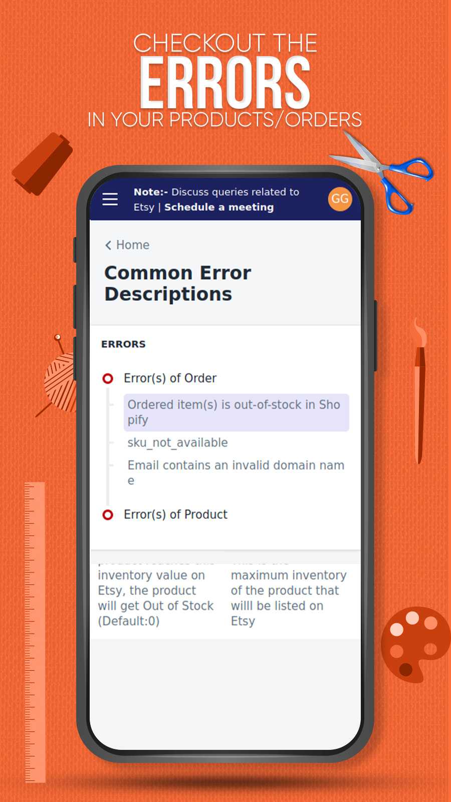 Check the errors in your products and orders