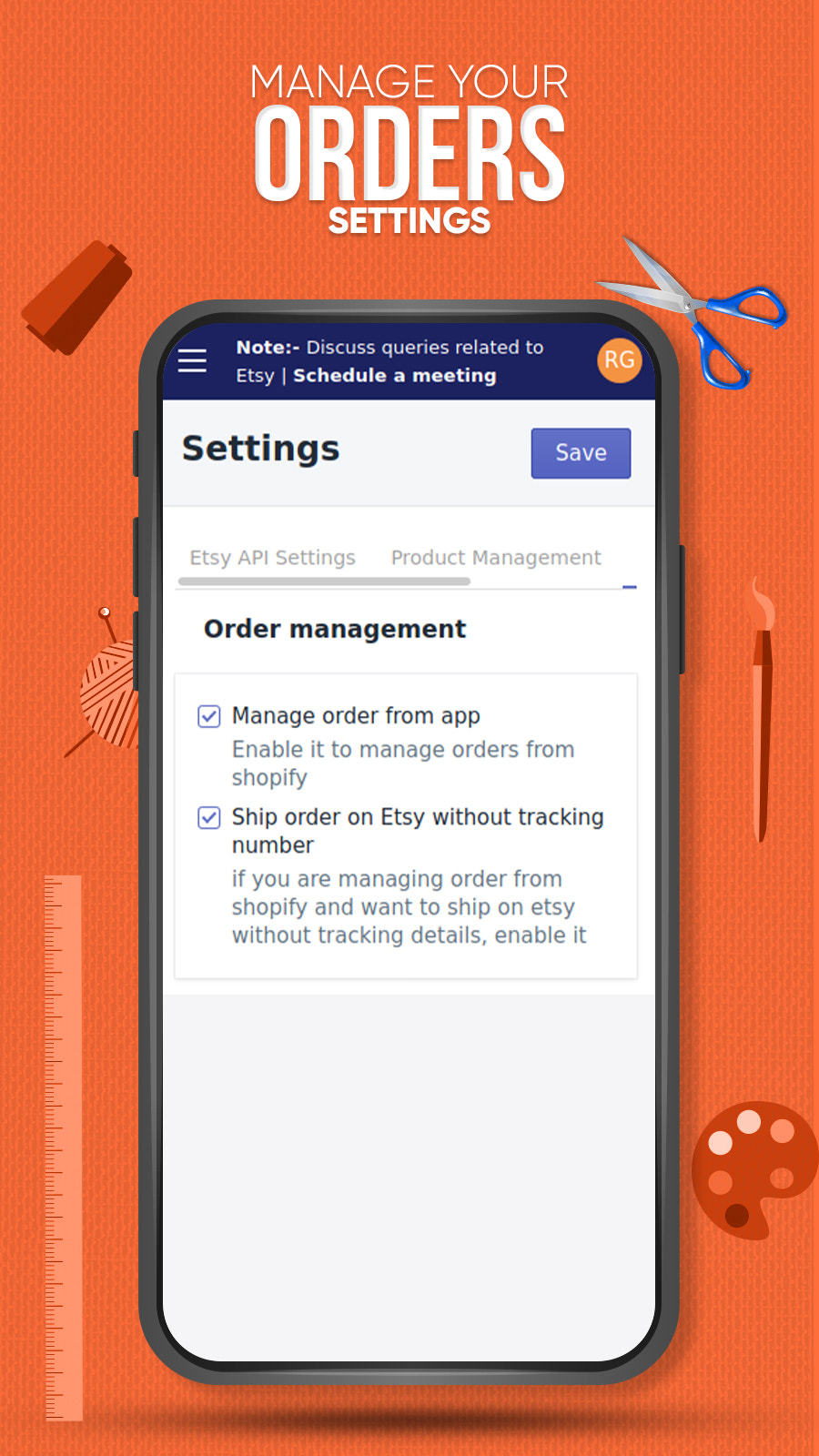 Manage orders settings between Shopify and Etsy
