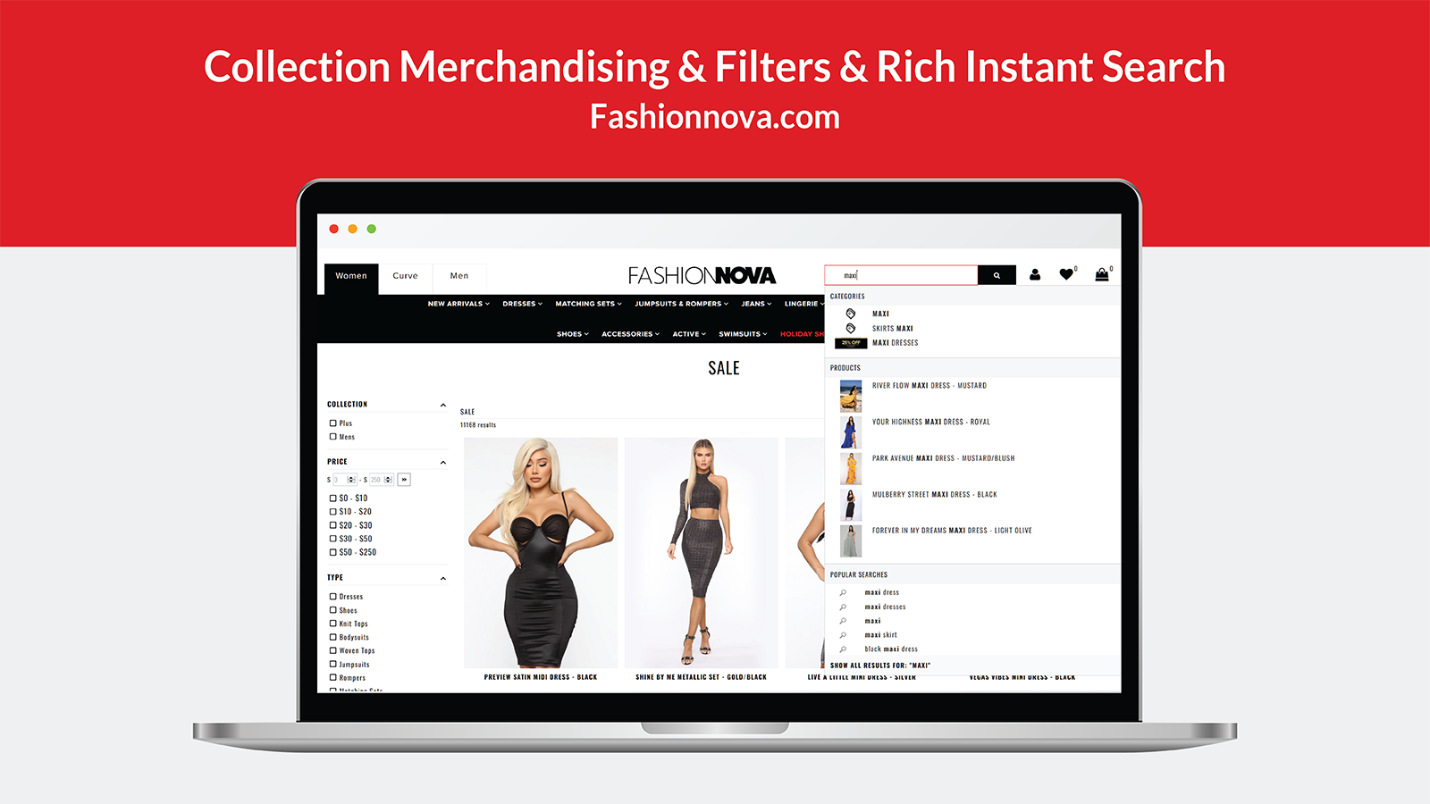 Collection Merchandising & Filter menu & Rich Instant Search