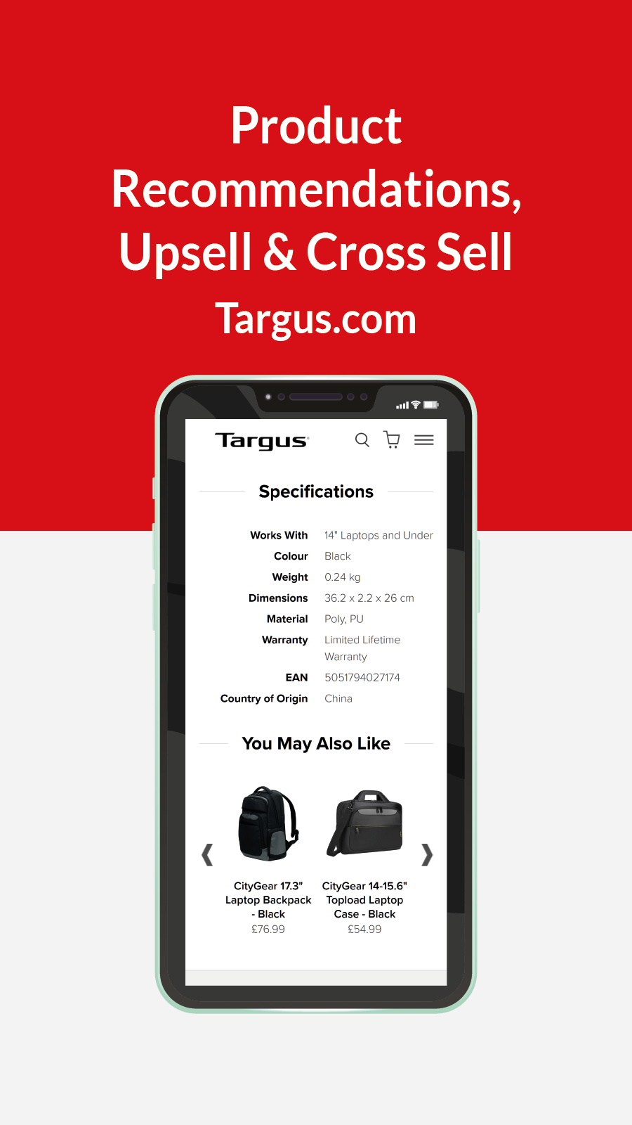 Search - Product Recommendations, upsell & cross Sell Targus