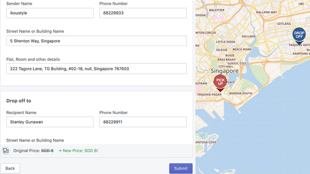 Integrated delivery order creation interface