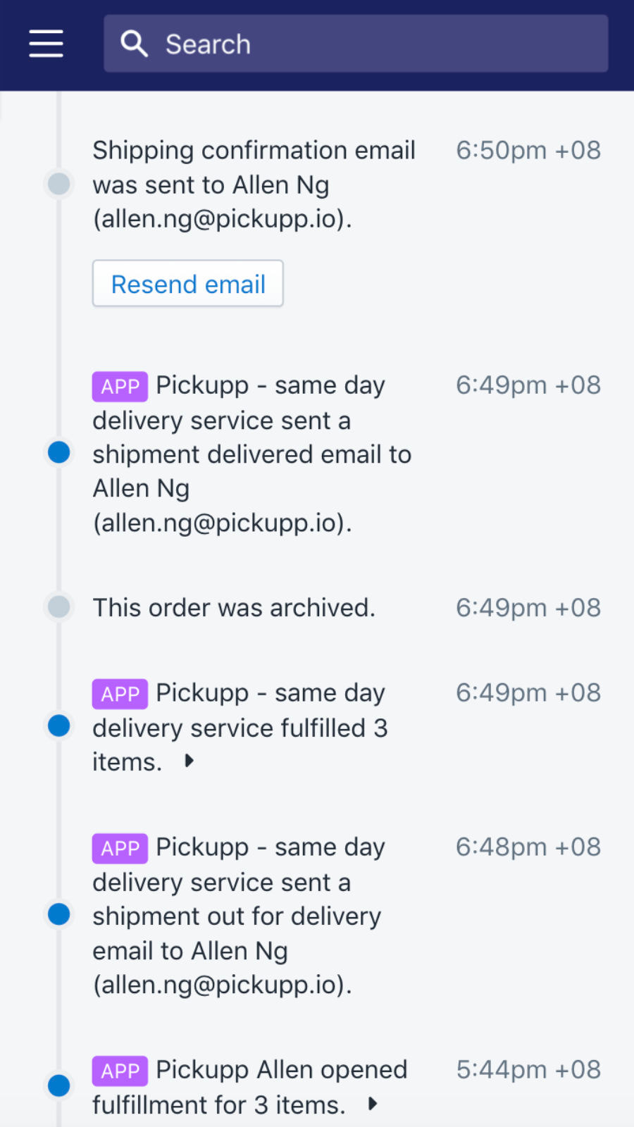Real time delivery status right in admin page