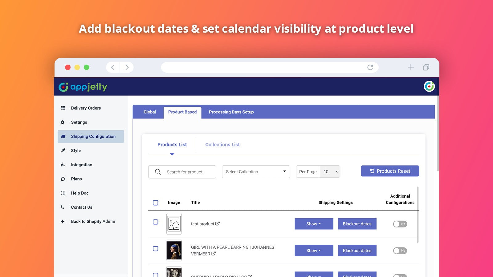 Blackout dates at product level