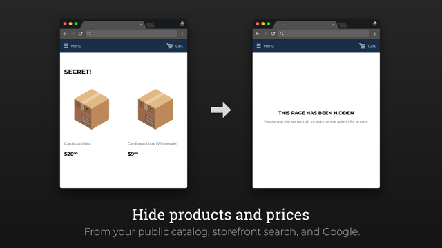 Hide products and prices