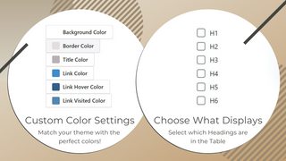 Table of Contents Design Settings