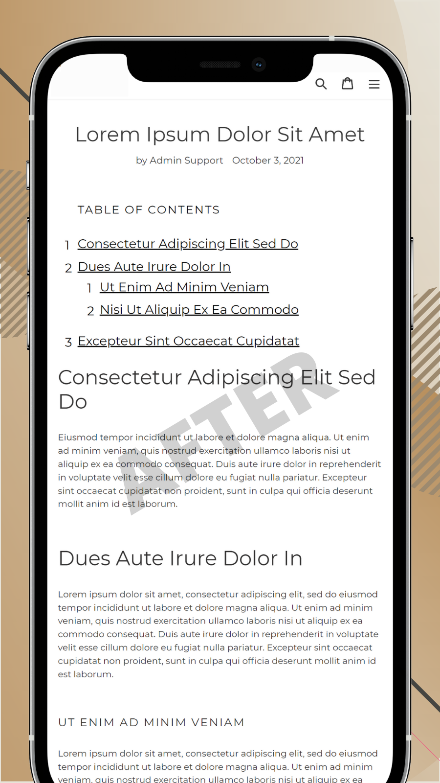 Table of Contents for blog posts on mobile after