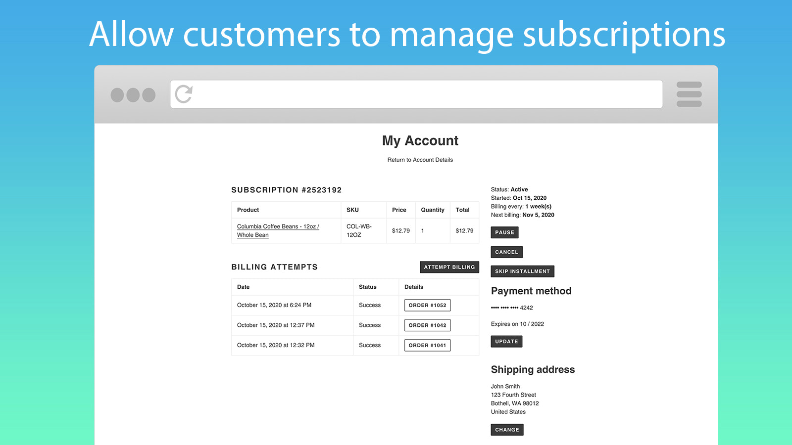 Allow customers to manage their own subscriptions
