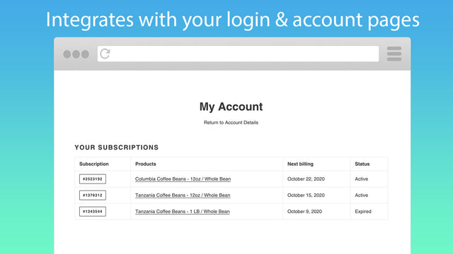 Customers can view and manage multiple subscriptions.