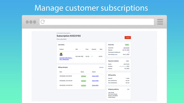 Manage subscriptions with the app