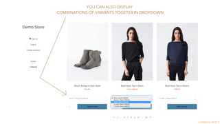 You can show variants combinations for each product in catalog
