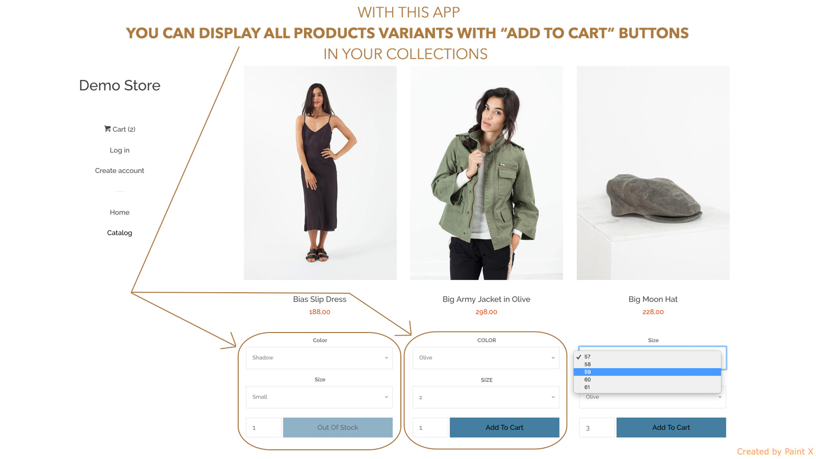 You can display variants for each product in collections