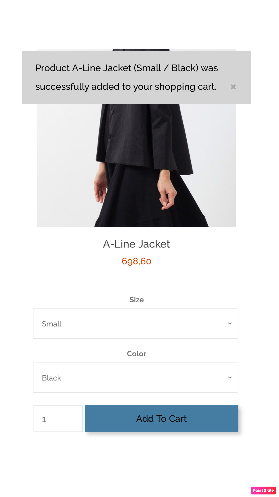 Info message for added product to cart on mobile