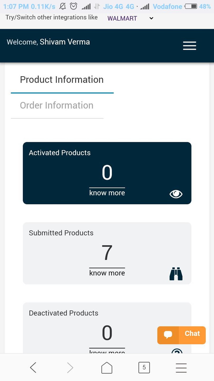 Products Infromation with it's status
