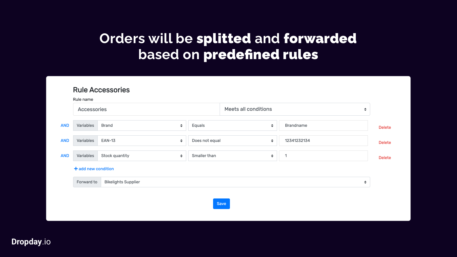 Based on rules, the orders are splitted and processed.