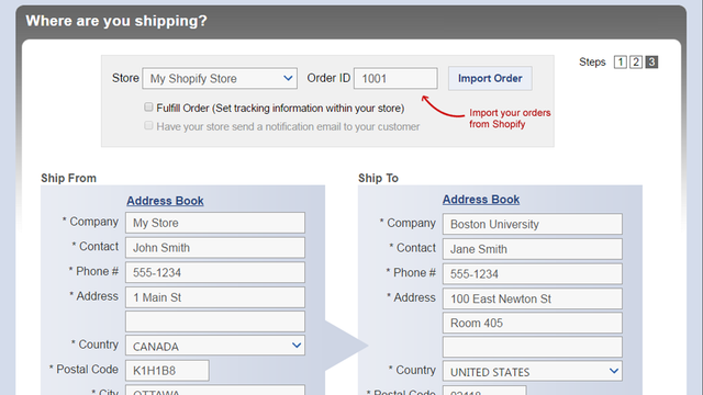 Import your order right into Secureship. You save time by not ne