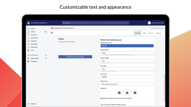 Customizable text and appearance of Facebook Comments button