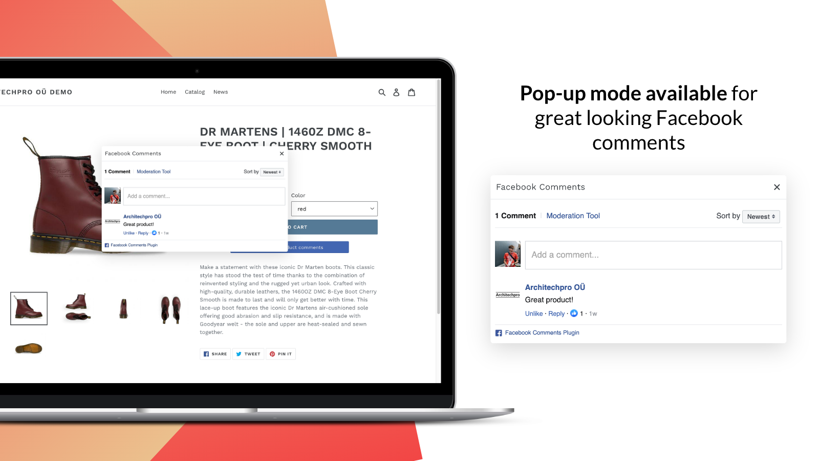 Facebook Comments pop-up for Shopify