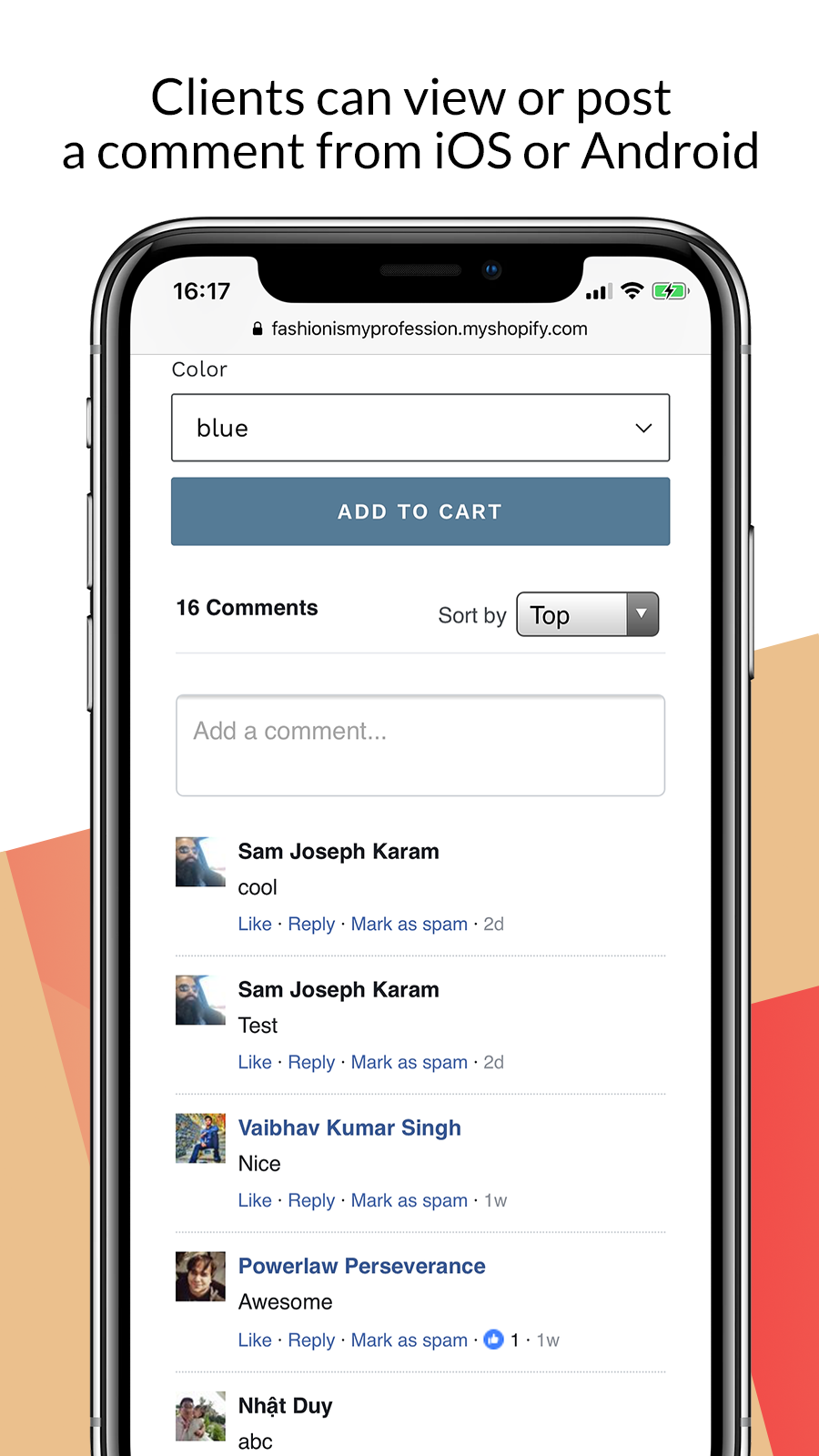 Facebook comments for Shopify on mobile