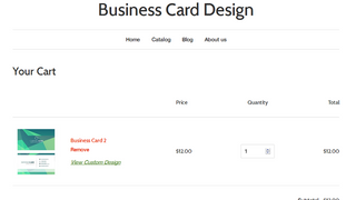 Customized business card in the cart page