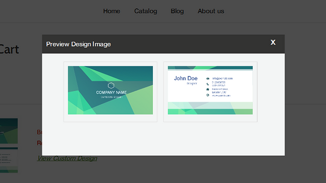 Preview of customized business card on the cart page