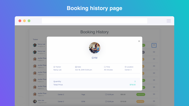 Appoinment booking history in frontend