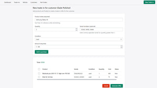 Create Trade-ins, calculate cost, and generate offers.