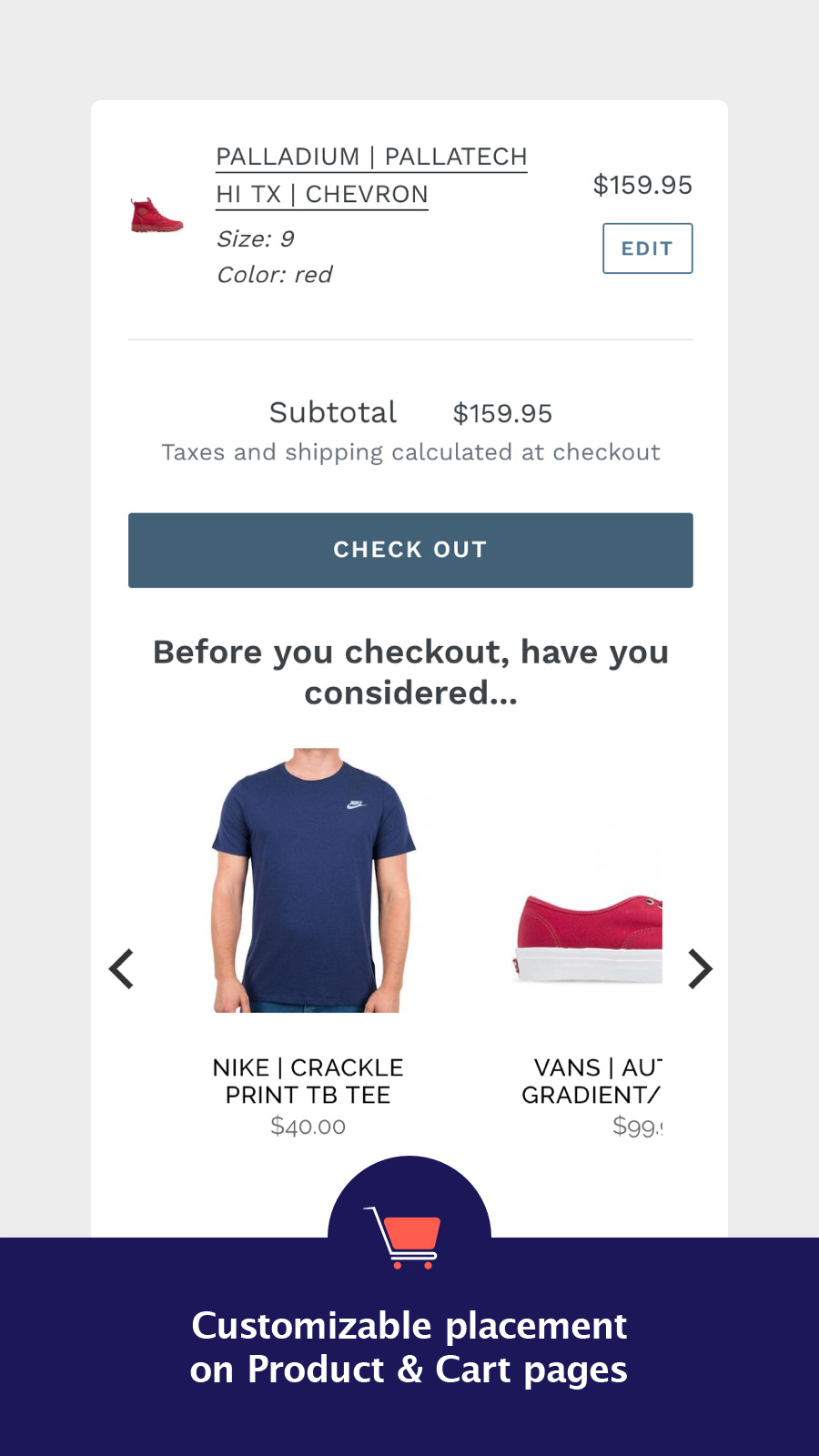 Cross Sell on cart pages before checkout