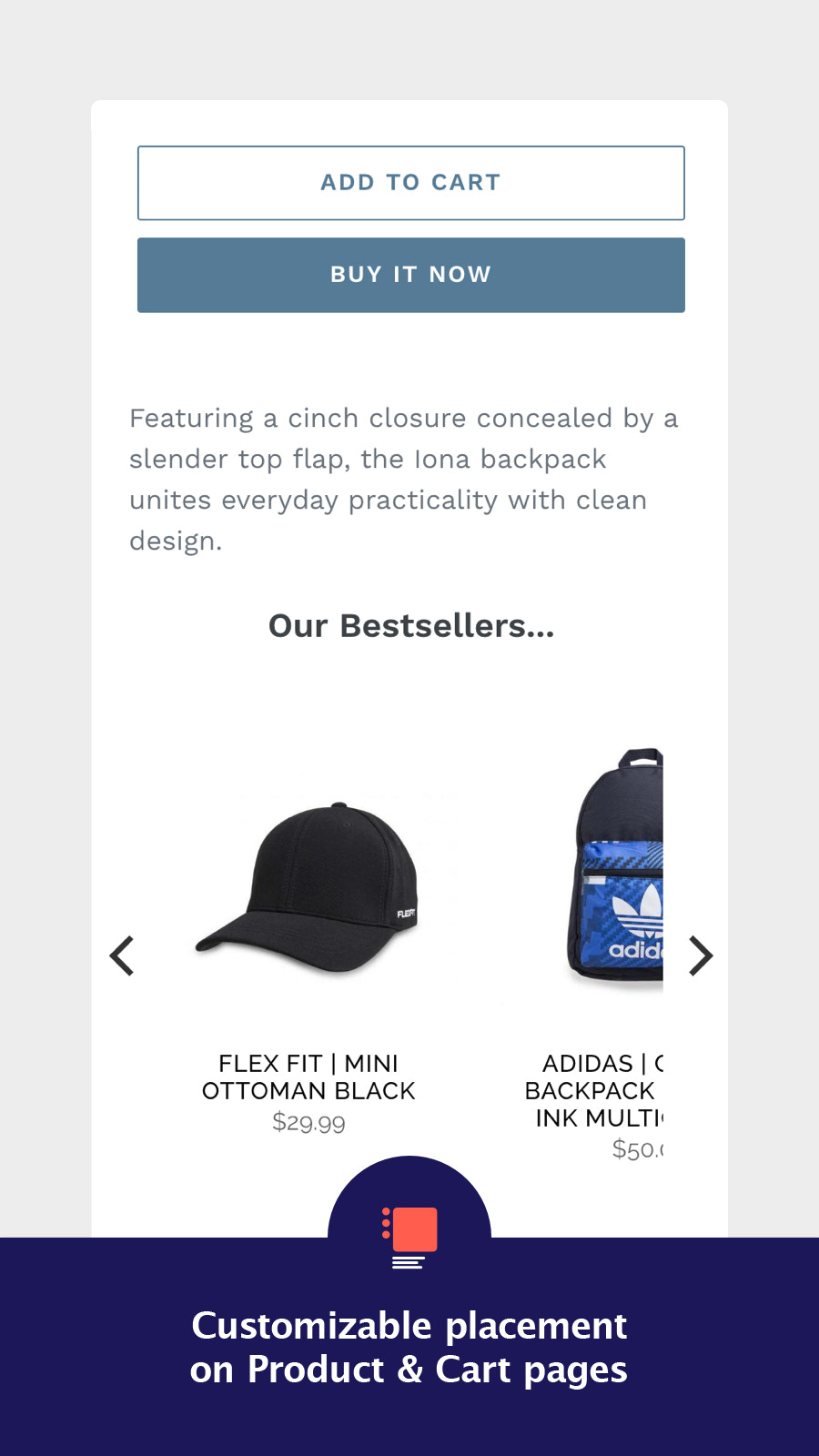 Cross sell on product pages