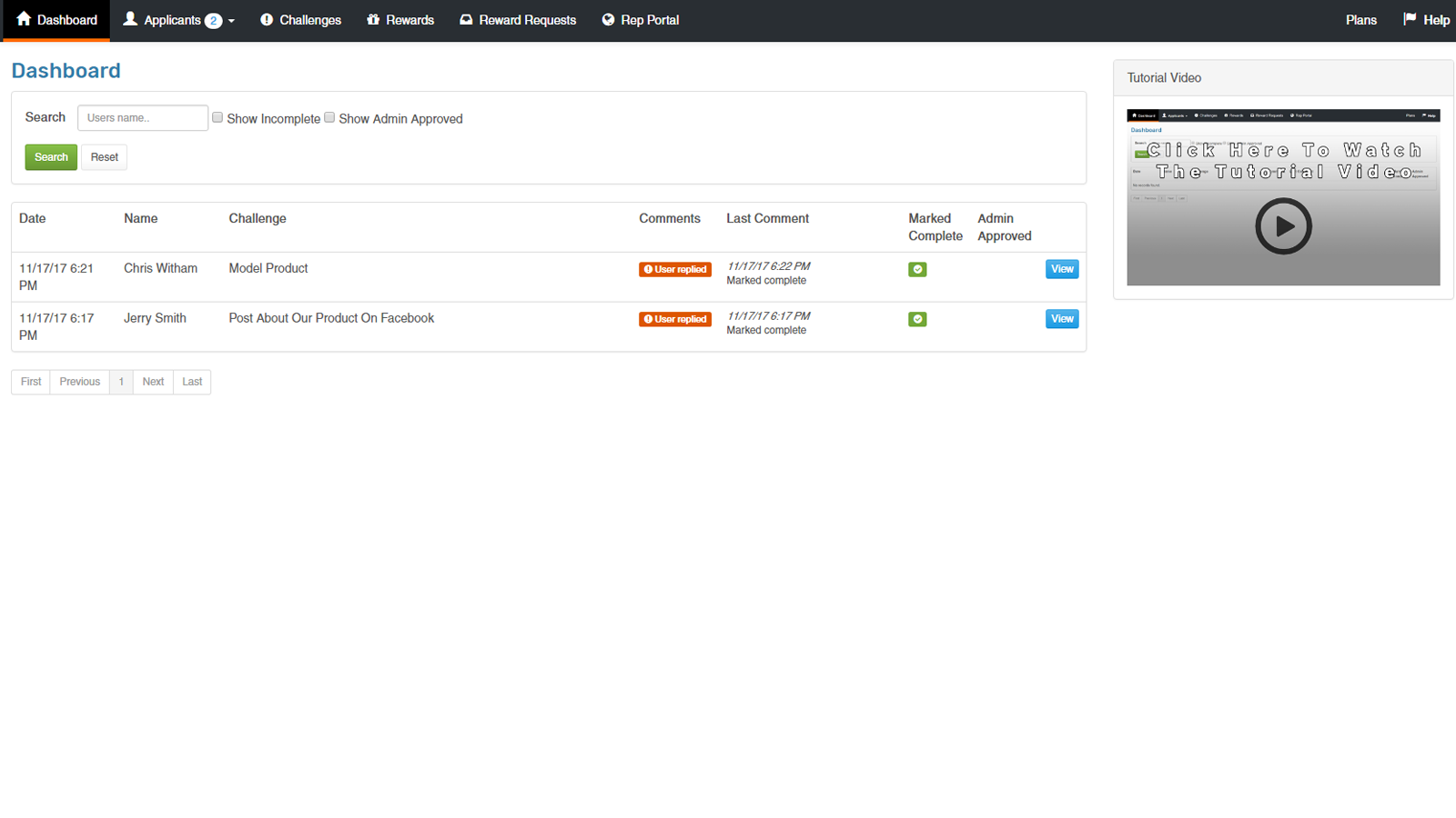 The admin dashboard screen which has easy to access information