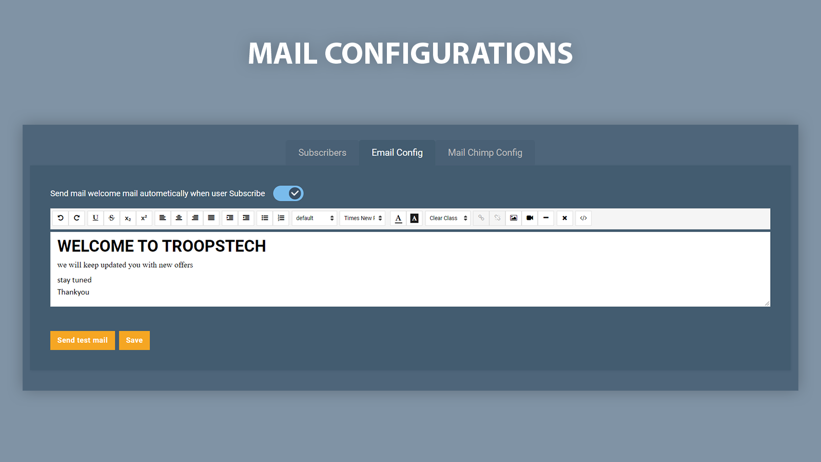 Configure Welcome email