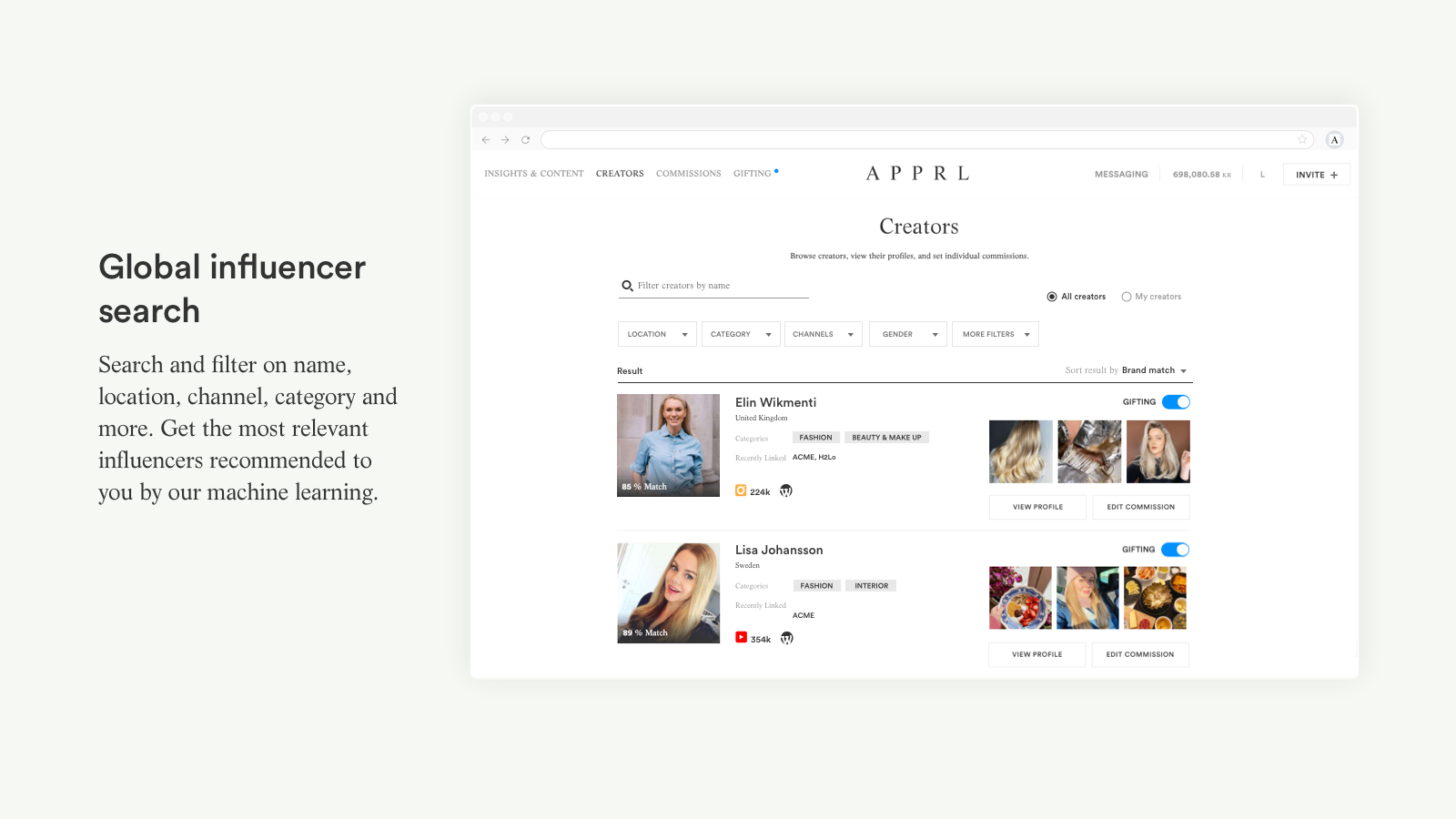 Global influencer search