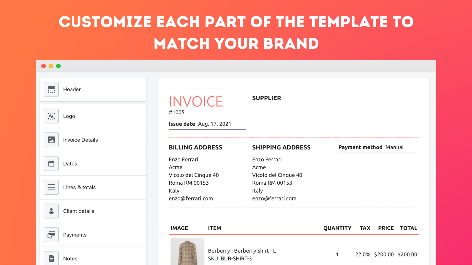 Customize each part of the template to match your brand