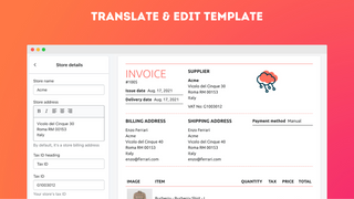 Translate & edit text in template