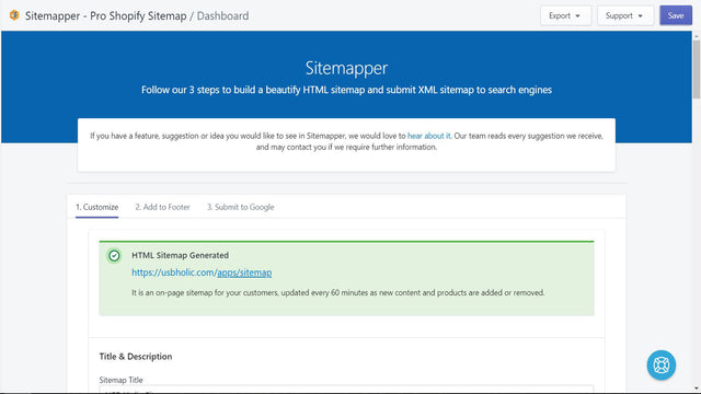 Instructions to generate and submit Shopify sitemap