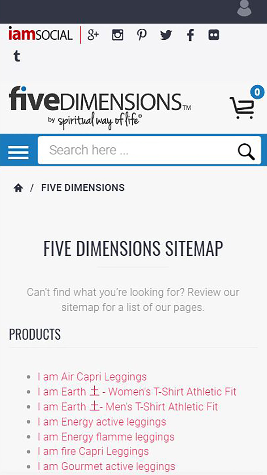 Shopify mobile sitemap for Five Dimensions