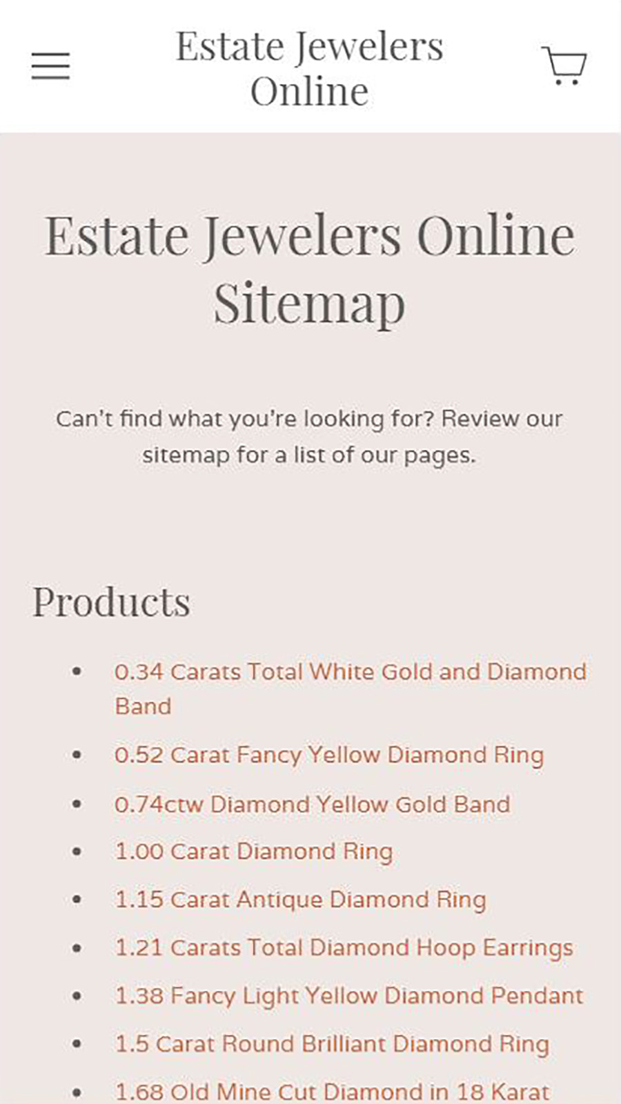 Shopify mobile sitemap for Estate Jewelers