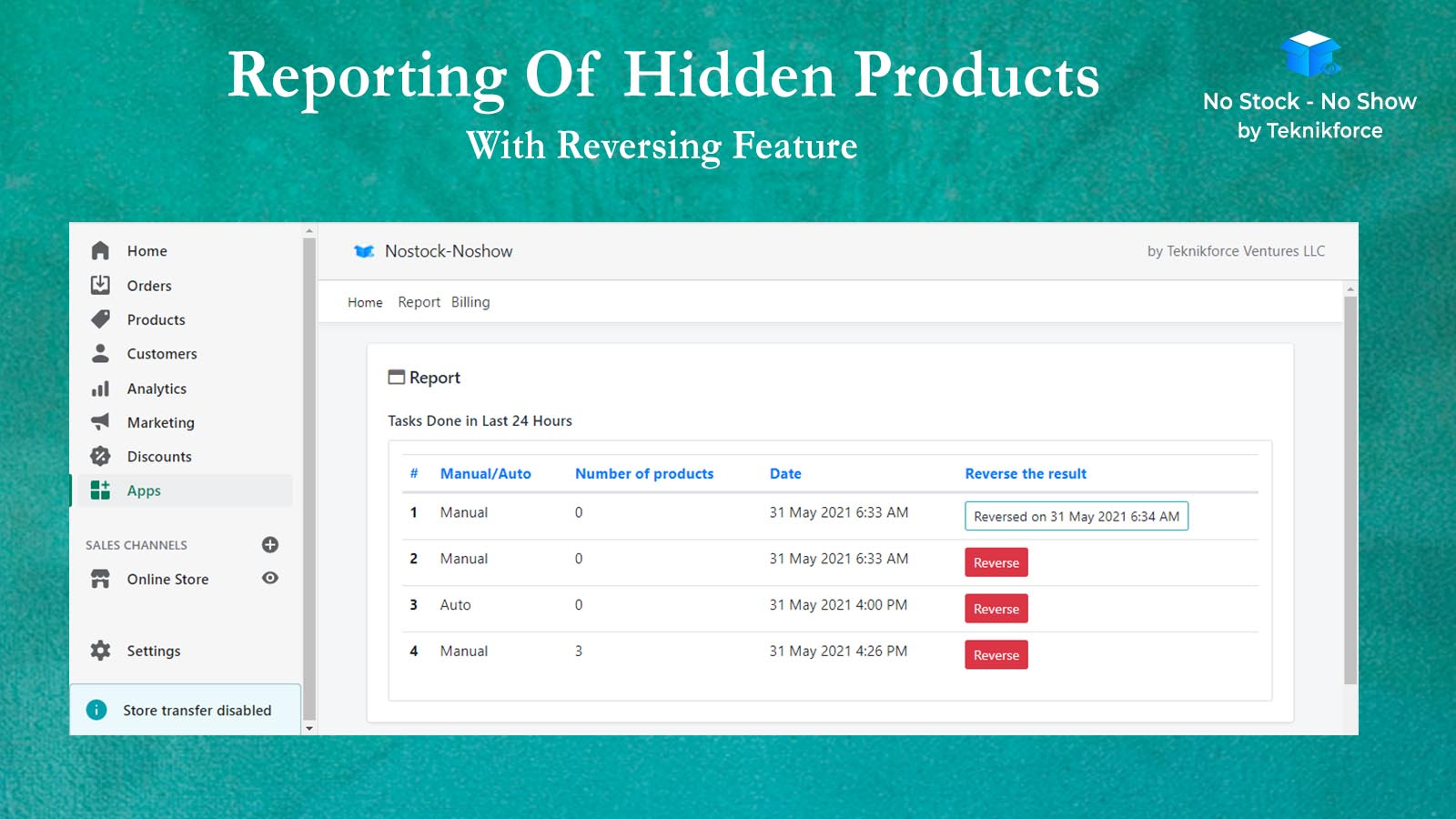 Reporting Of Hidden products With Reversing Feature In Auto Sold