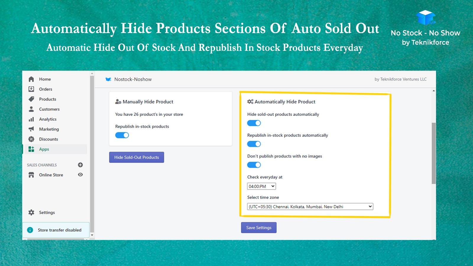 Automatically Hide Products Section Of Nostock-Noshow