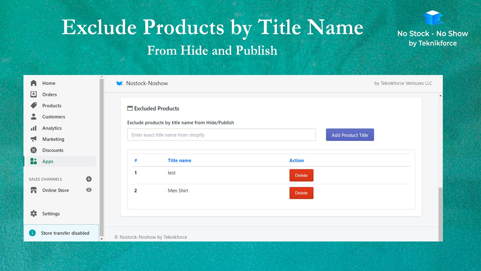 Exclude Products by Title Name In Auto Sold Out