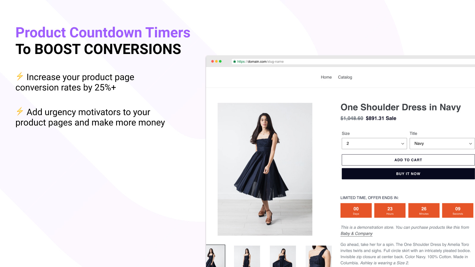 Product page countdown timers to boost conversions