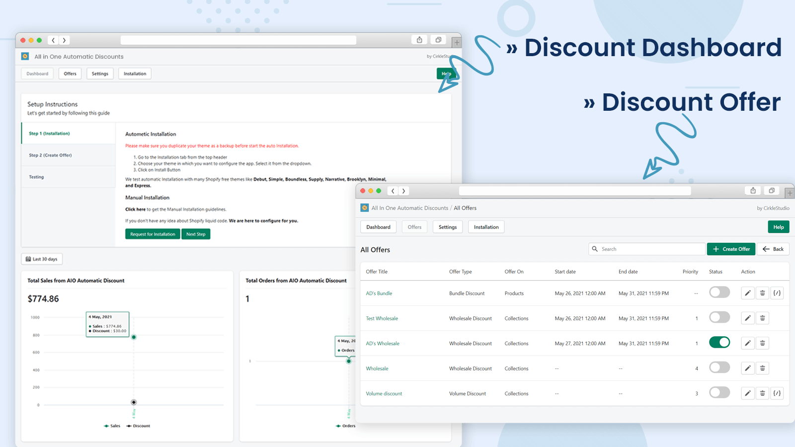 All In One Automatic Discounts Dashboard and List of Offers