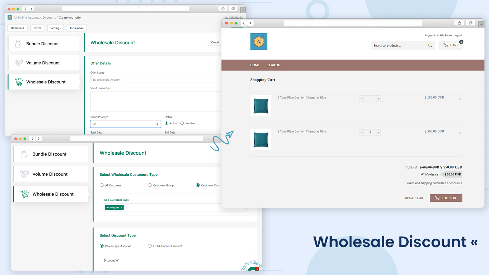 Wholesale discount settings and store view