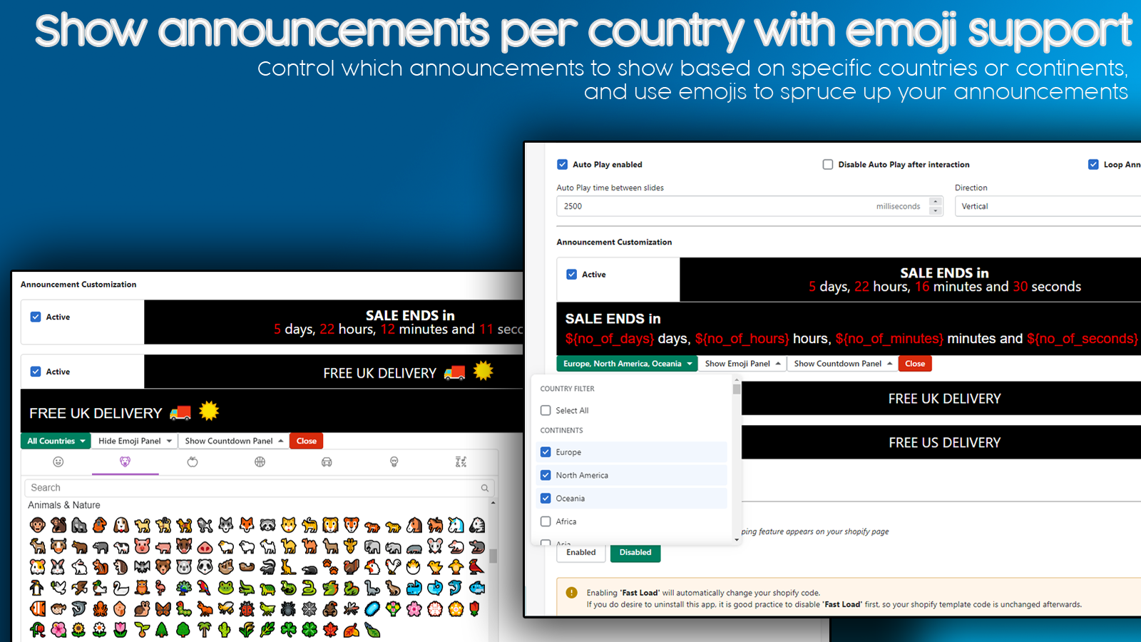 Show announcements per country with emoji support