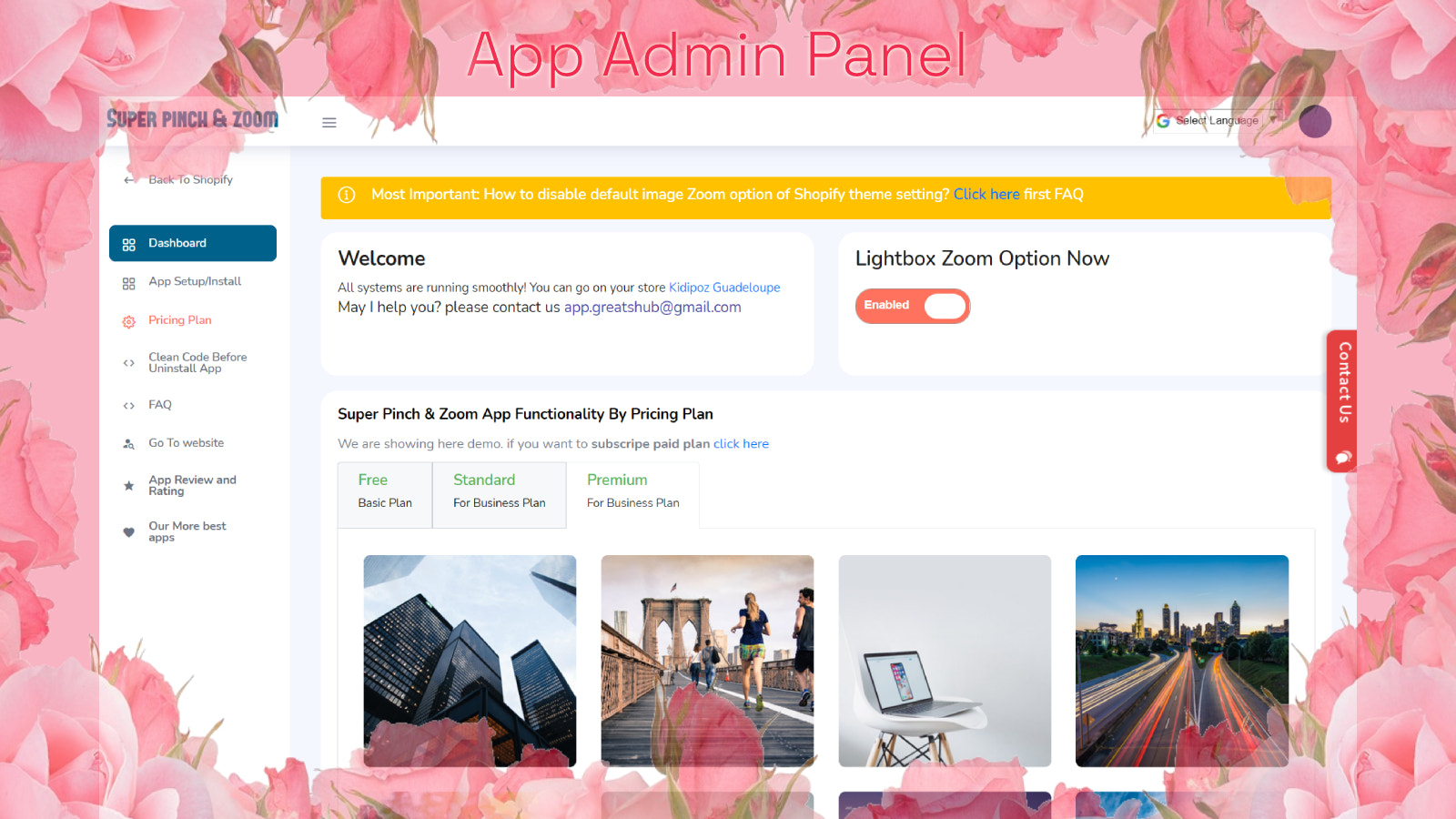 App Dashboard manage app functionality for pinch and zoom