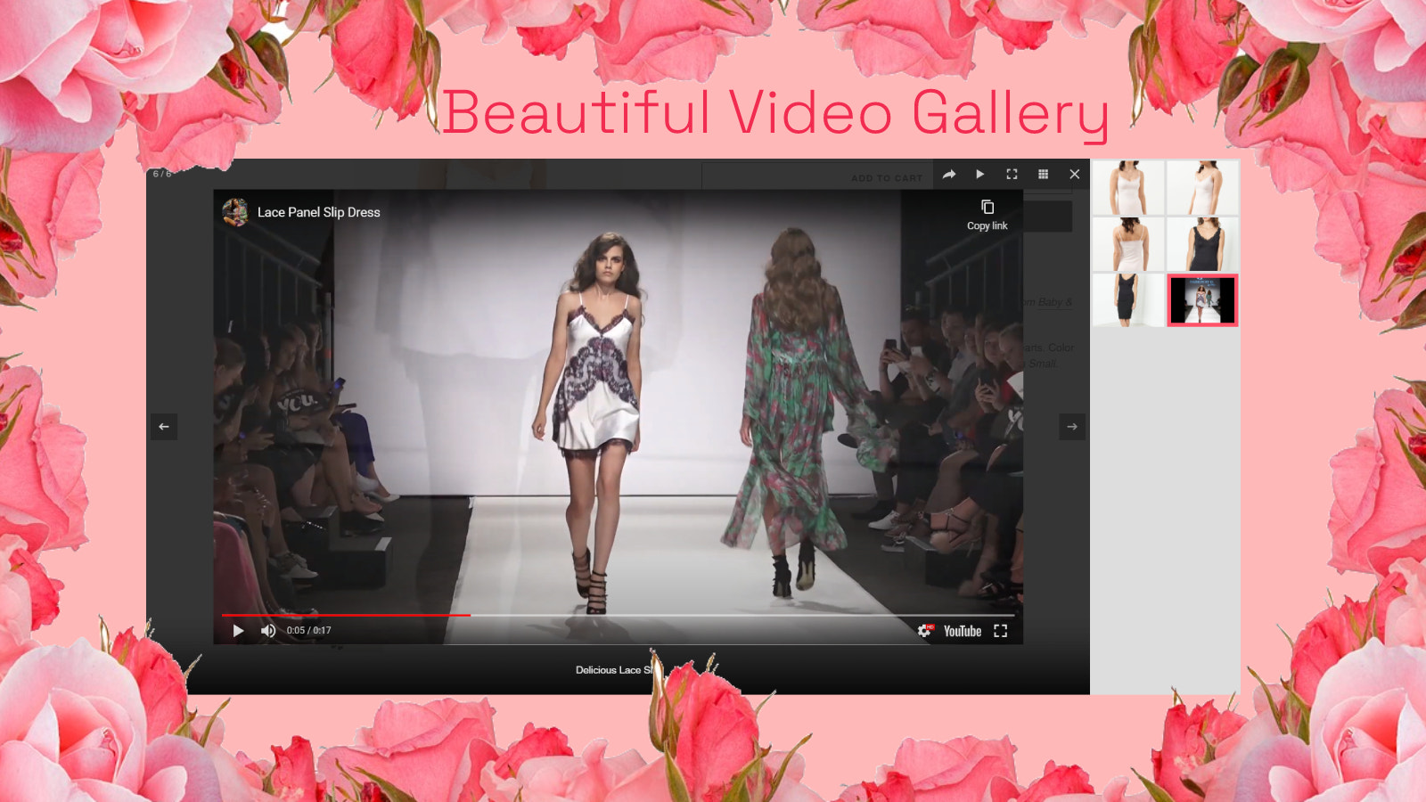Product video gallery, pop up product, youtube video