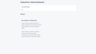 CarbonCroc Admin page with no orders