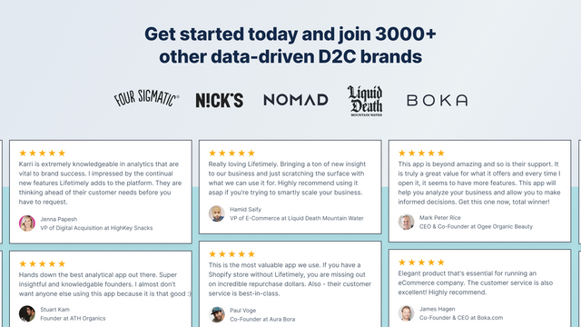 Get started today and join 3000+ other data-driven D2C brands