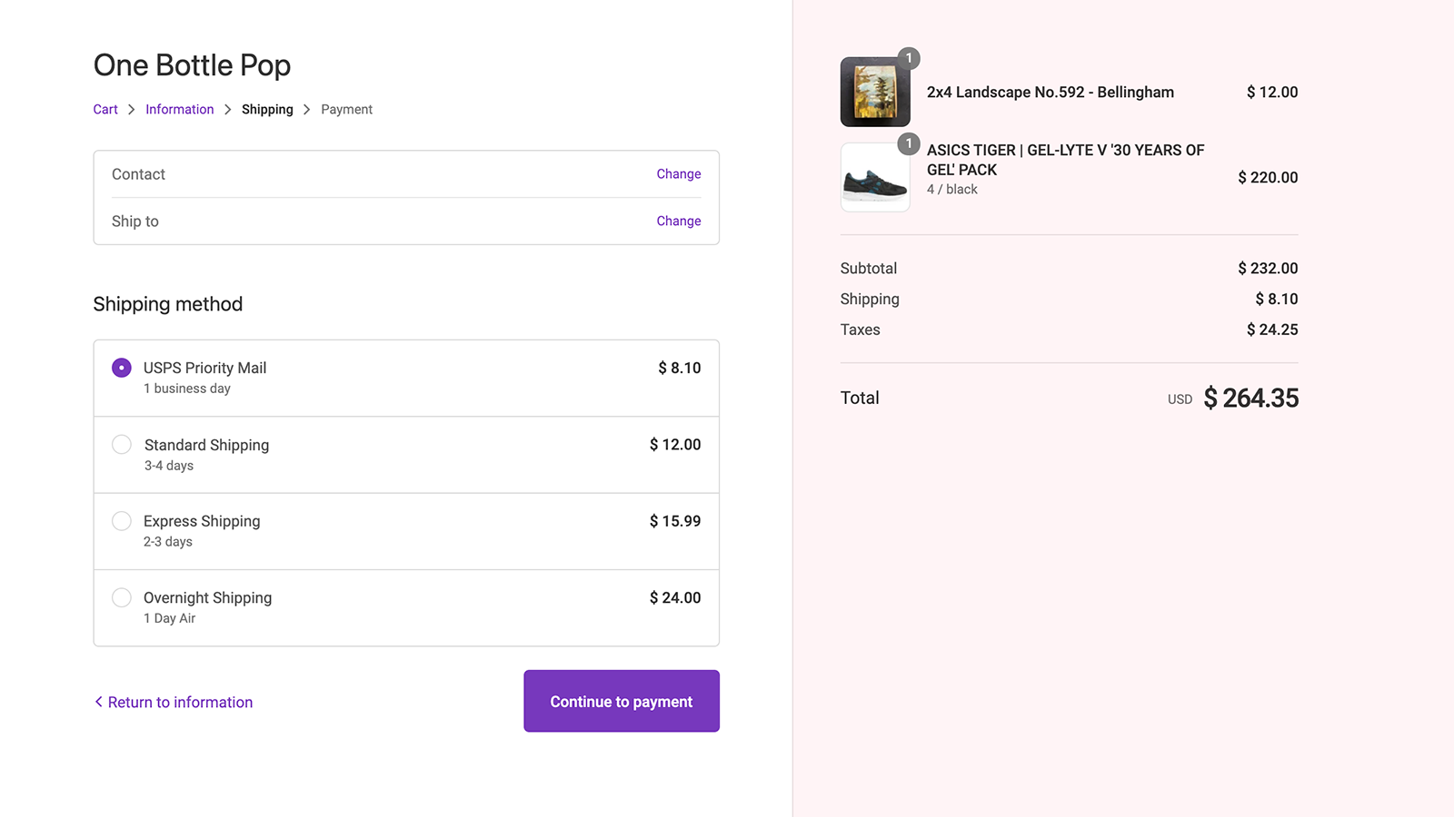 Rates appear in Shopify's shipping calculator