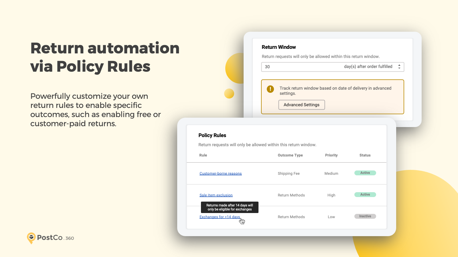 Return automation via Policy Rules